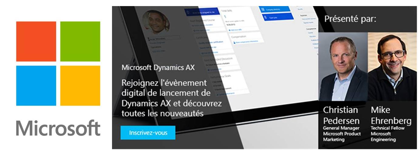 Invitation pour le lancement digital de Microsoft Dynamics AX le 9 mars 2016 de 17h à 18h